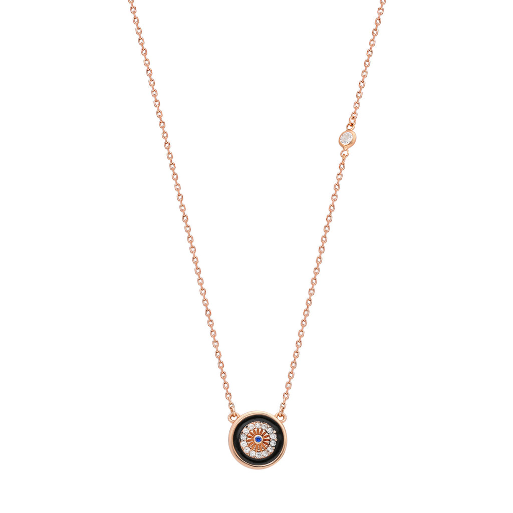 925 Sterling silver, rose gold plated necklace with black enamel and zirconia stones circle pendant.