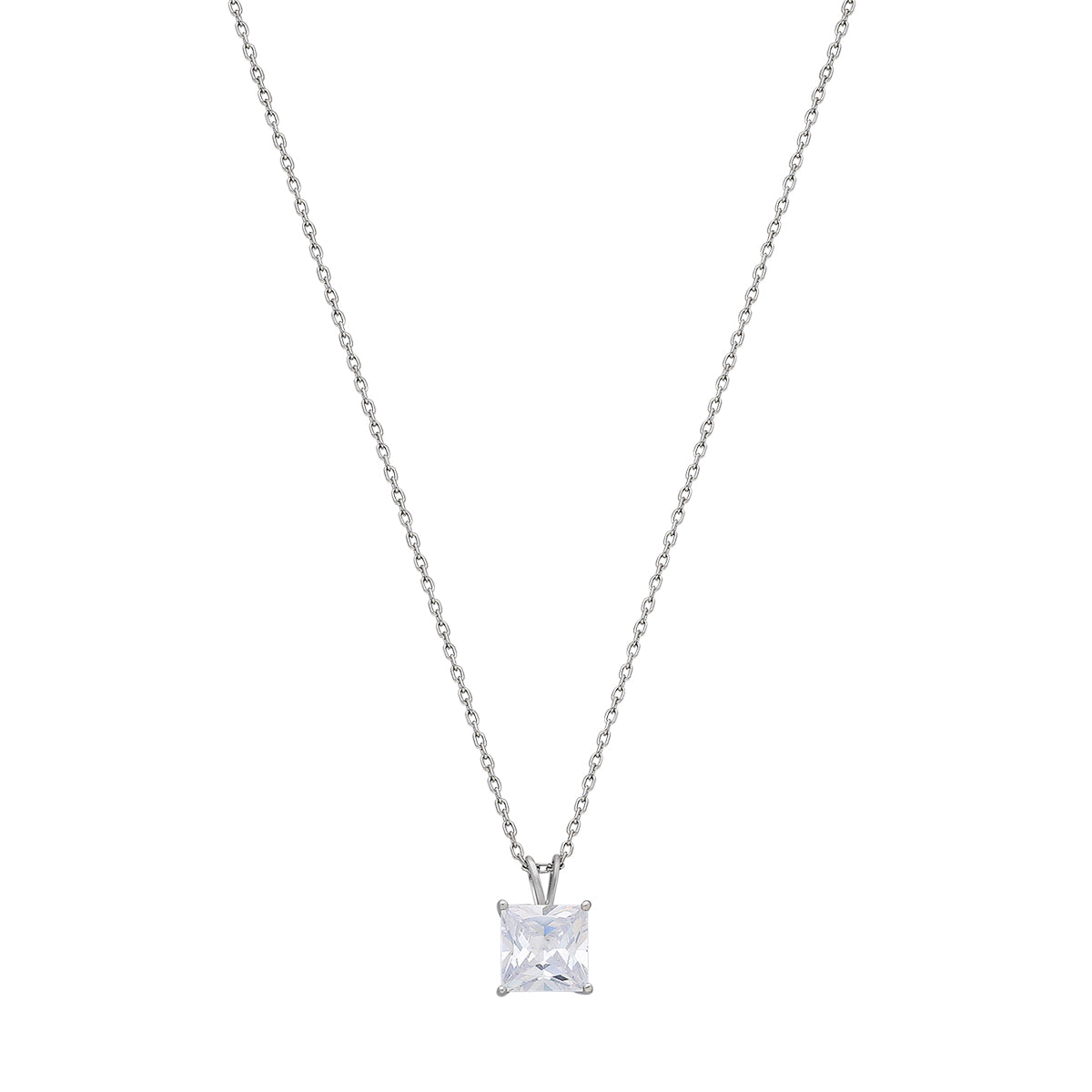 925 Sterling silver solitaire necklace.