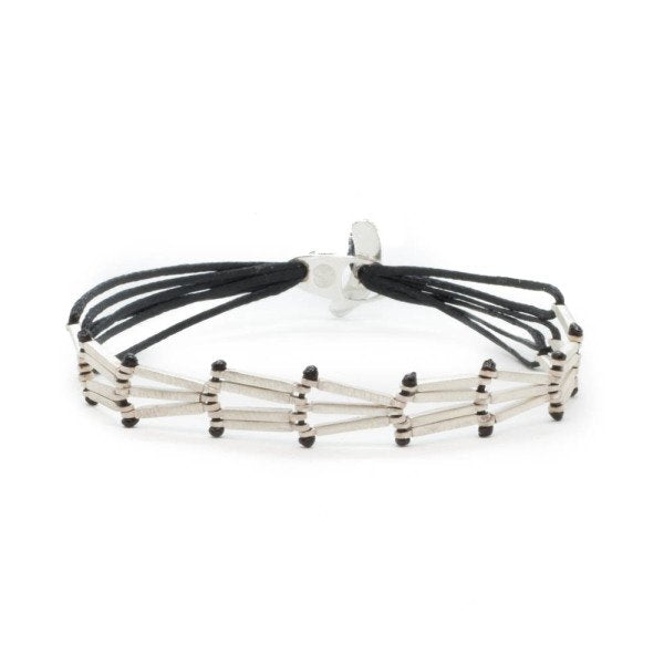 Hand made, custom design bracelet with consecutive silver strands which are connected with black string.