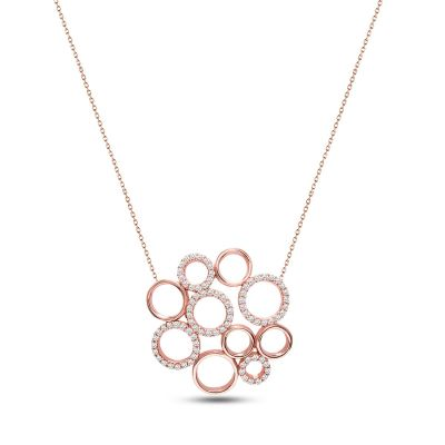 Rose gold plated necklace with  small circles pendant.
