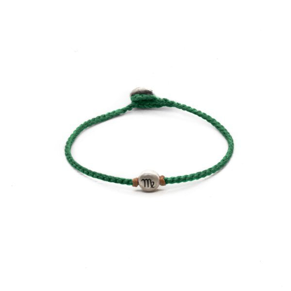 Silver Virgo zodiac sign bracelet with green  hand braided chain.