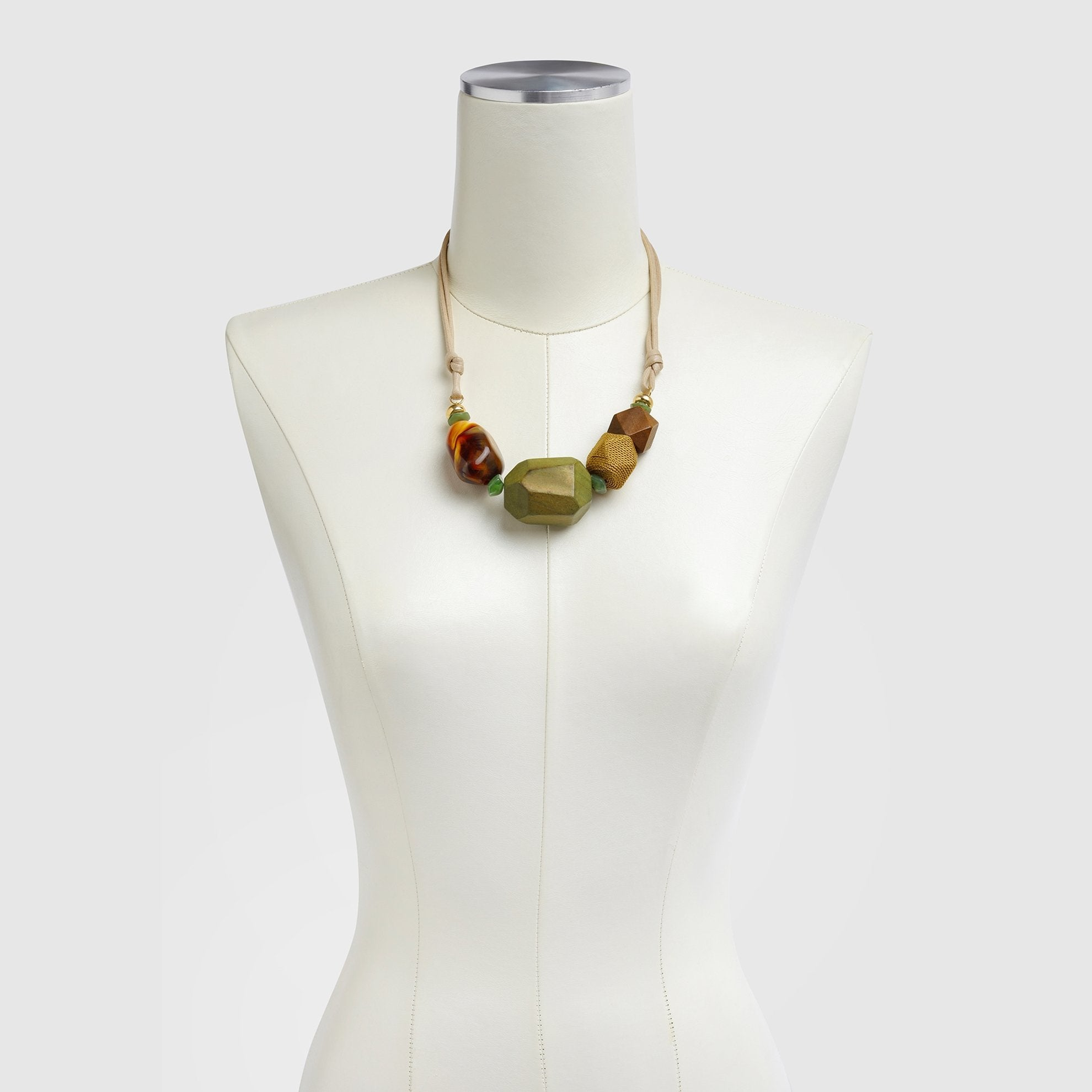 Geometric Shape Necklace on Dress Form