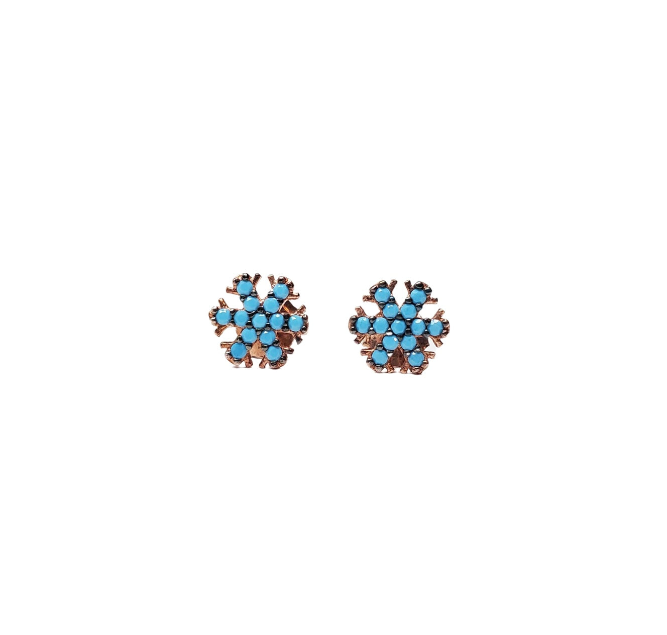 Turquoise zirconia snowflake stud earrings.
