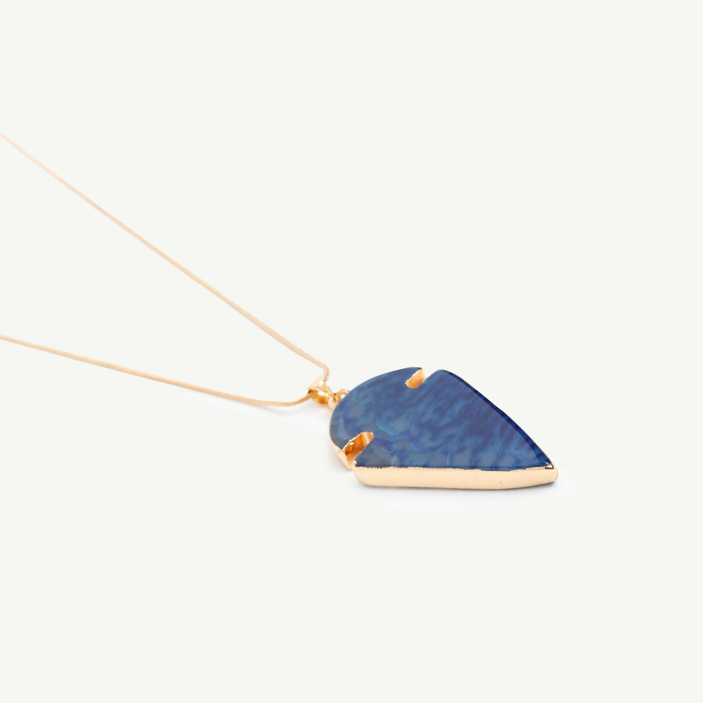 Arrow shaped blue necklace with golden chain.