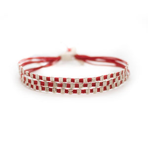 Fate bracelet, three string, hand made with small silver beads, red.