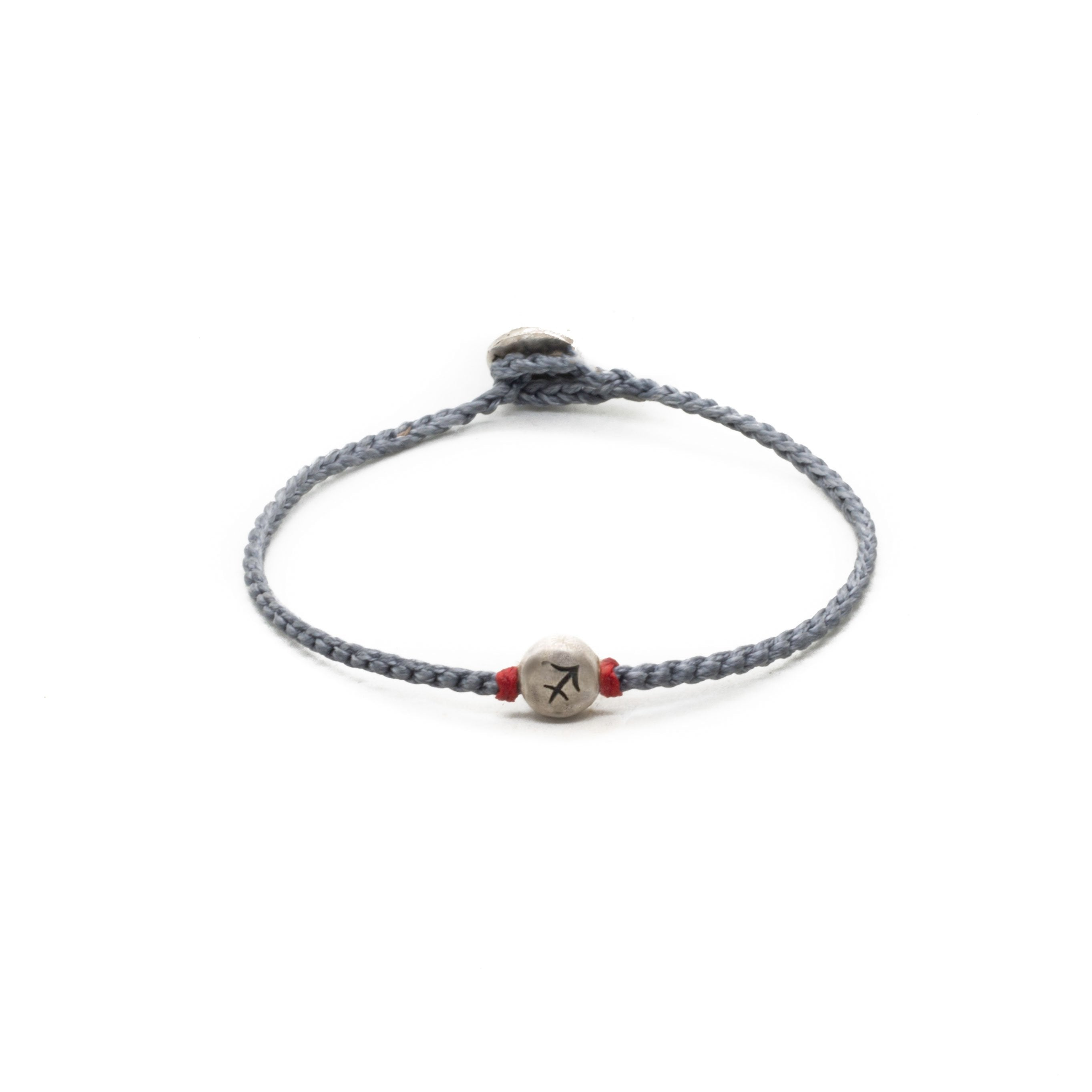 Silver Sagittarius zodiac sign bracelet with grey hand braided chain.