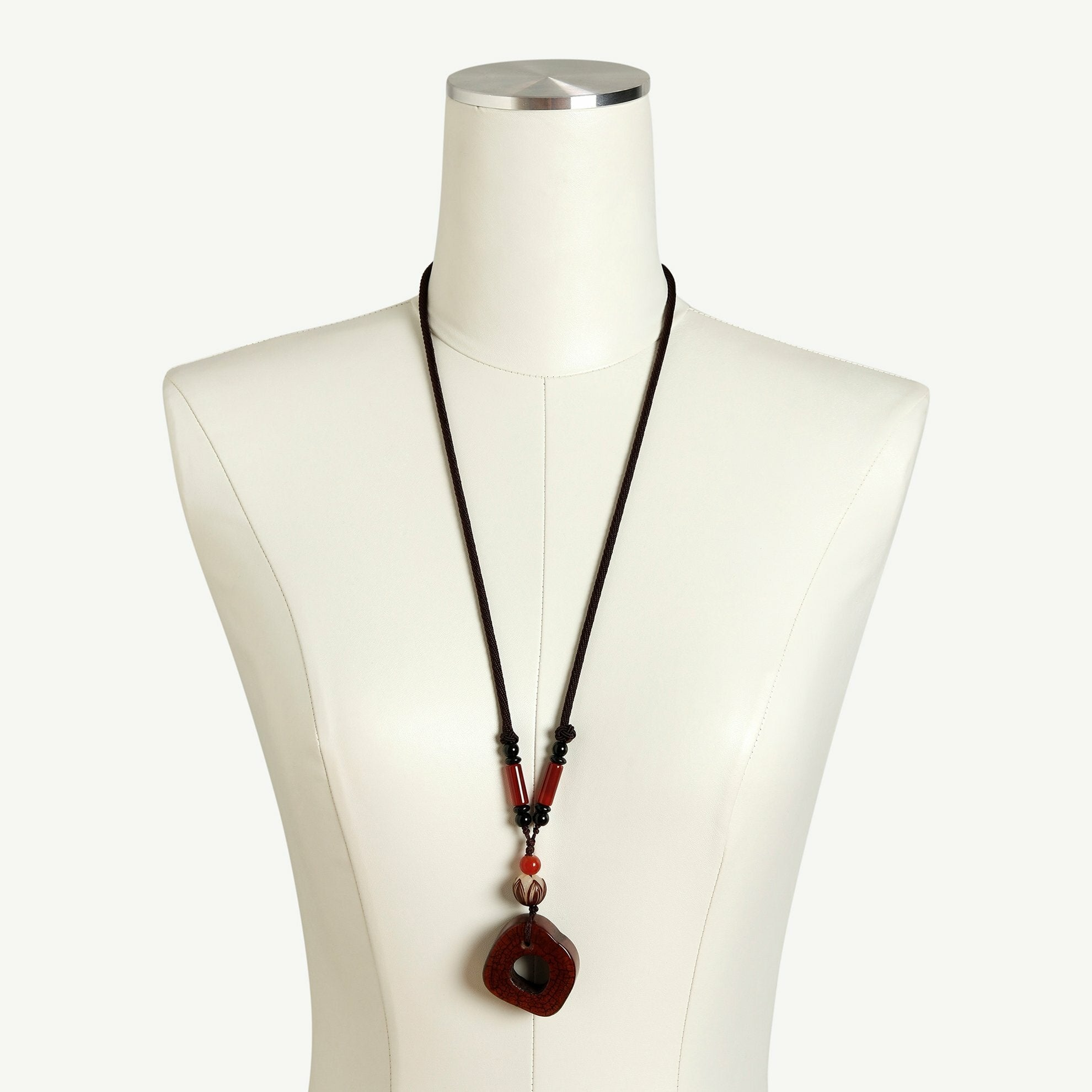 Brown Stone Necklace on Dress Form