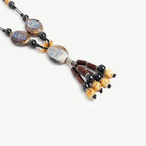 Natural Stone Necklace with Wooden Beads Tassel
