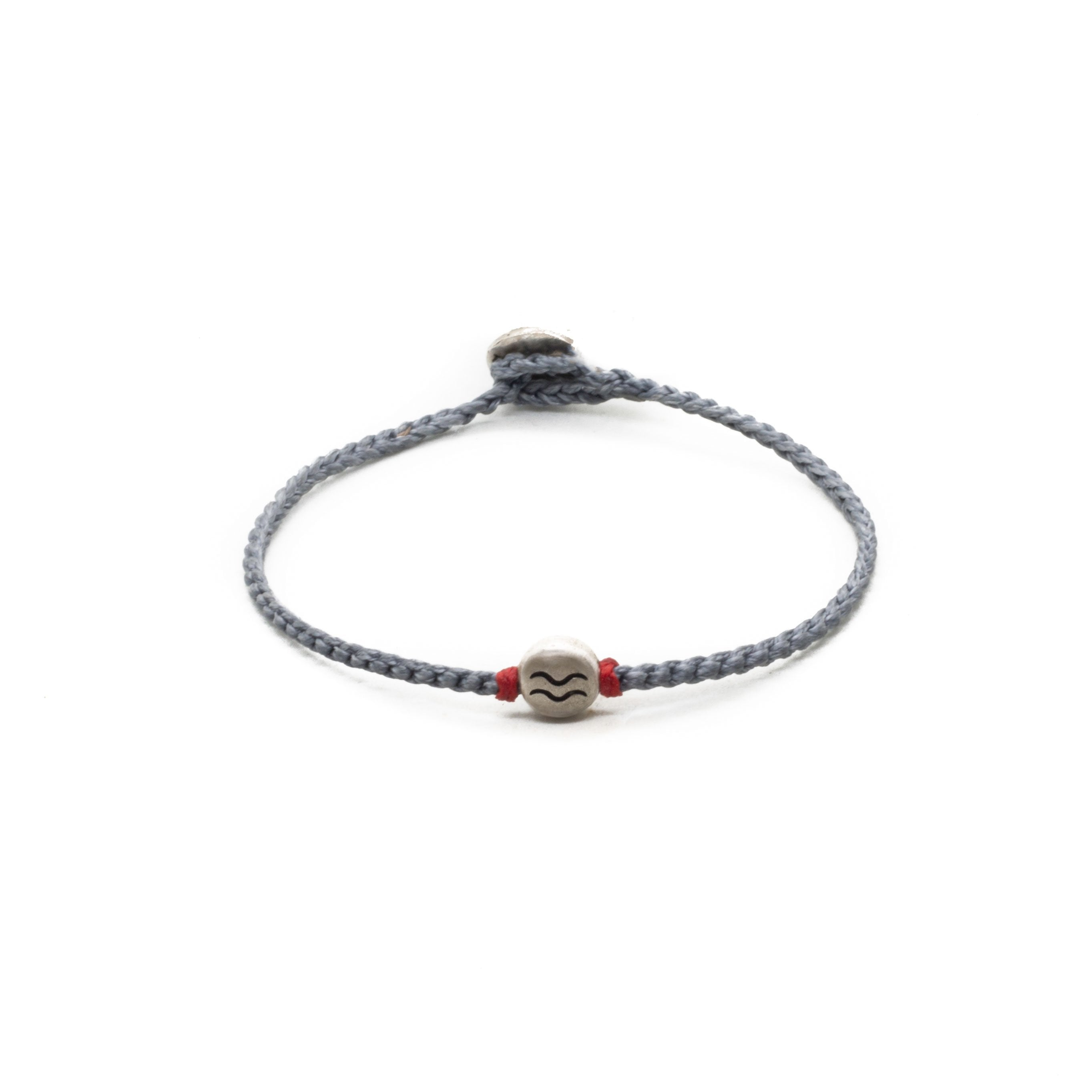 Aquarius zodiac sign grey hand braided bracelet.