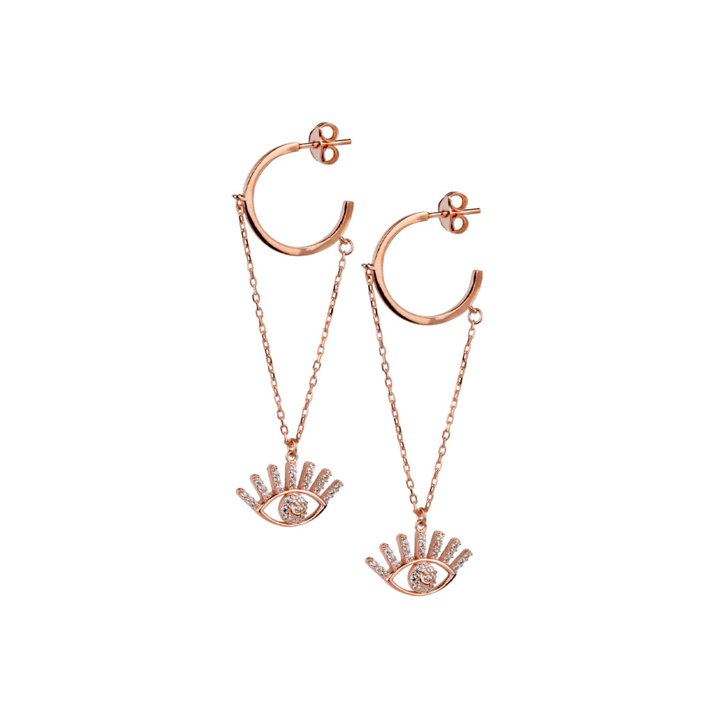 925 Sterling silver, rose gold plated twinkle eye pendant earrings decorated with white zirconia stones.