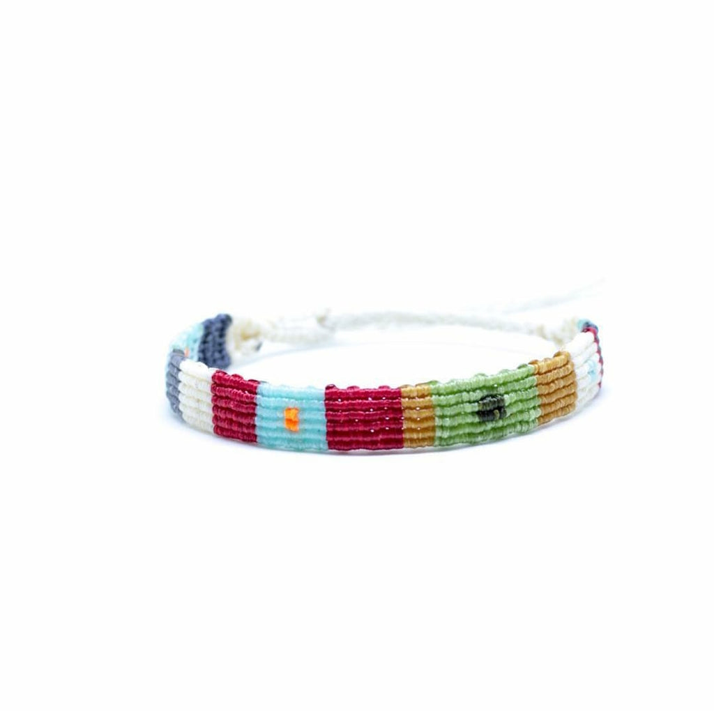 Bohemian style colorful hand braided macrame bracelet ending with silver clasp.
