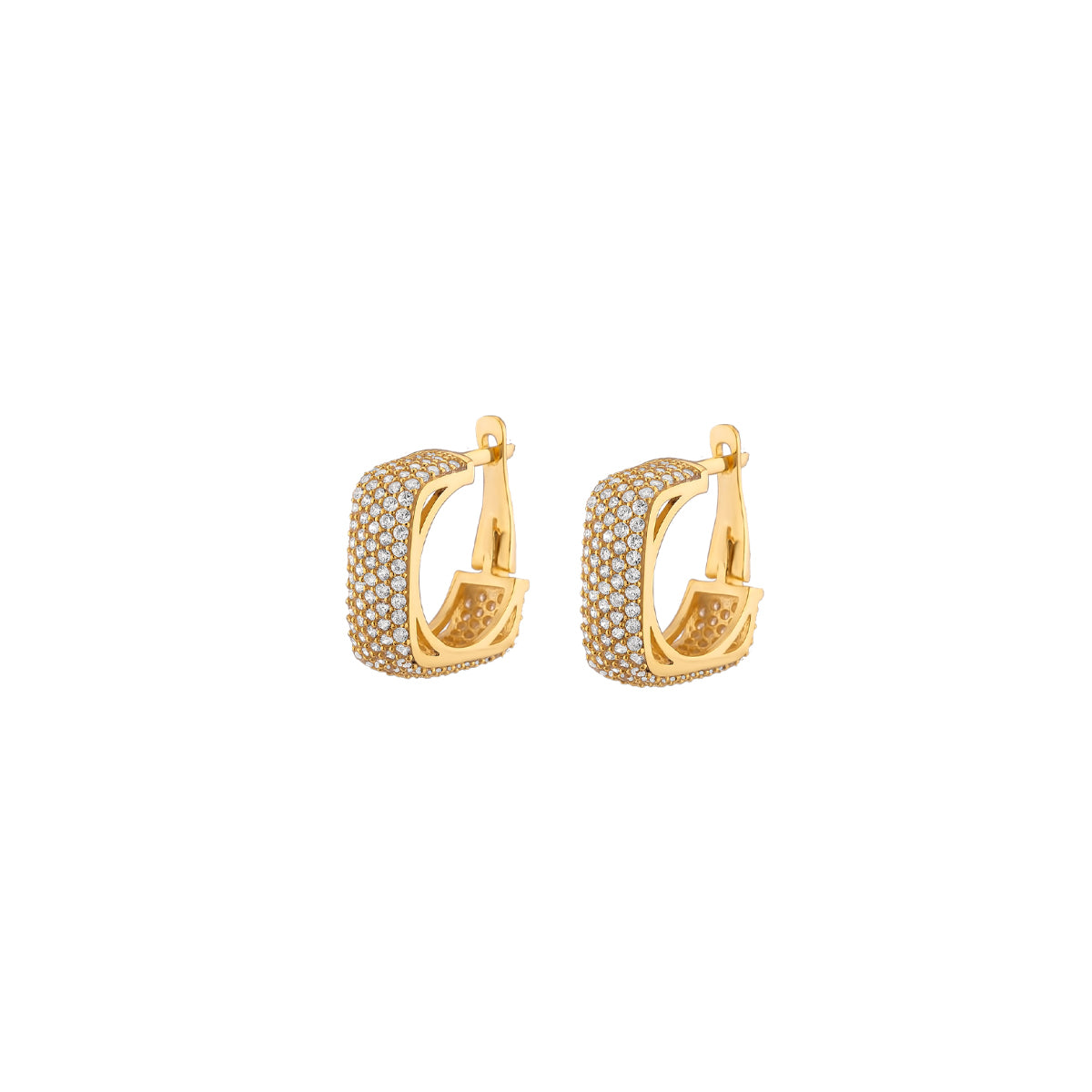 925 Sterling silver gold plated, square earrings with tiny zirconia stones.