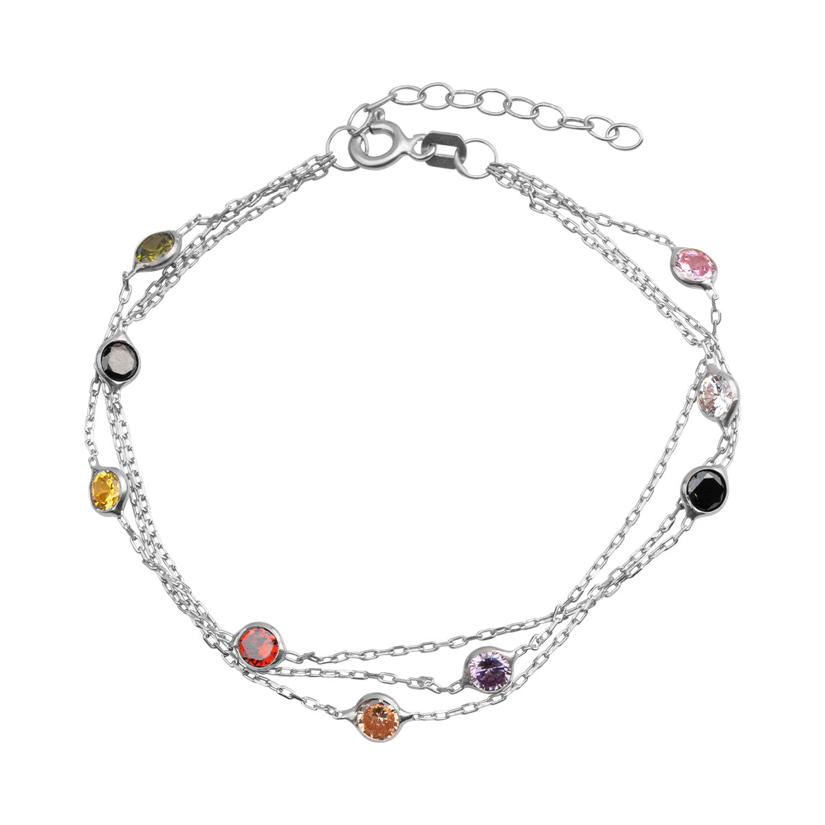 925 Sterling silver rhodium plated, layered chain bracelet with colorful beads.