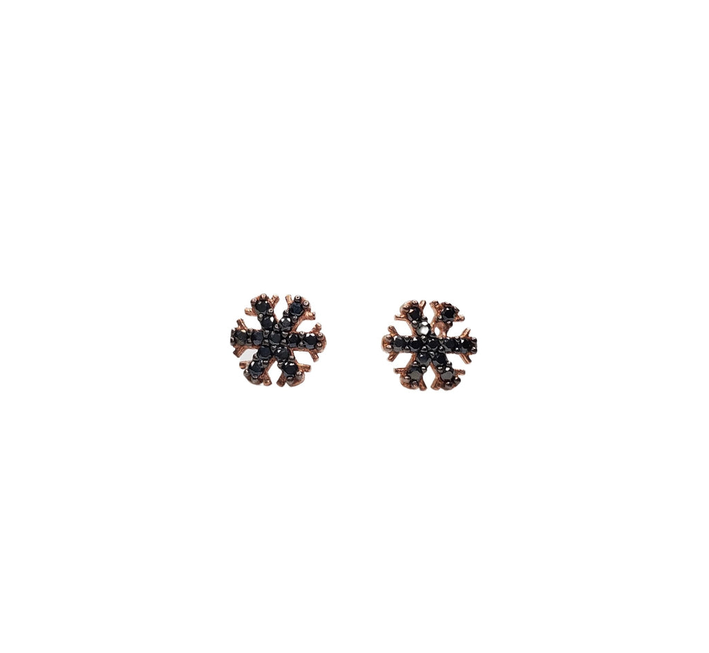 Black zirconia snowflake stud earrings.