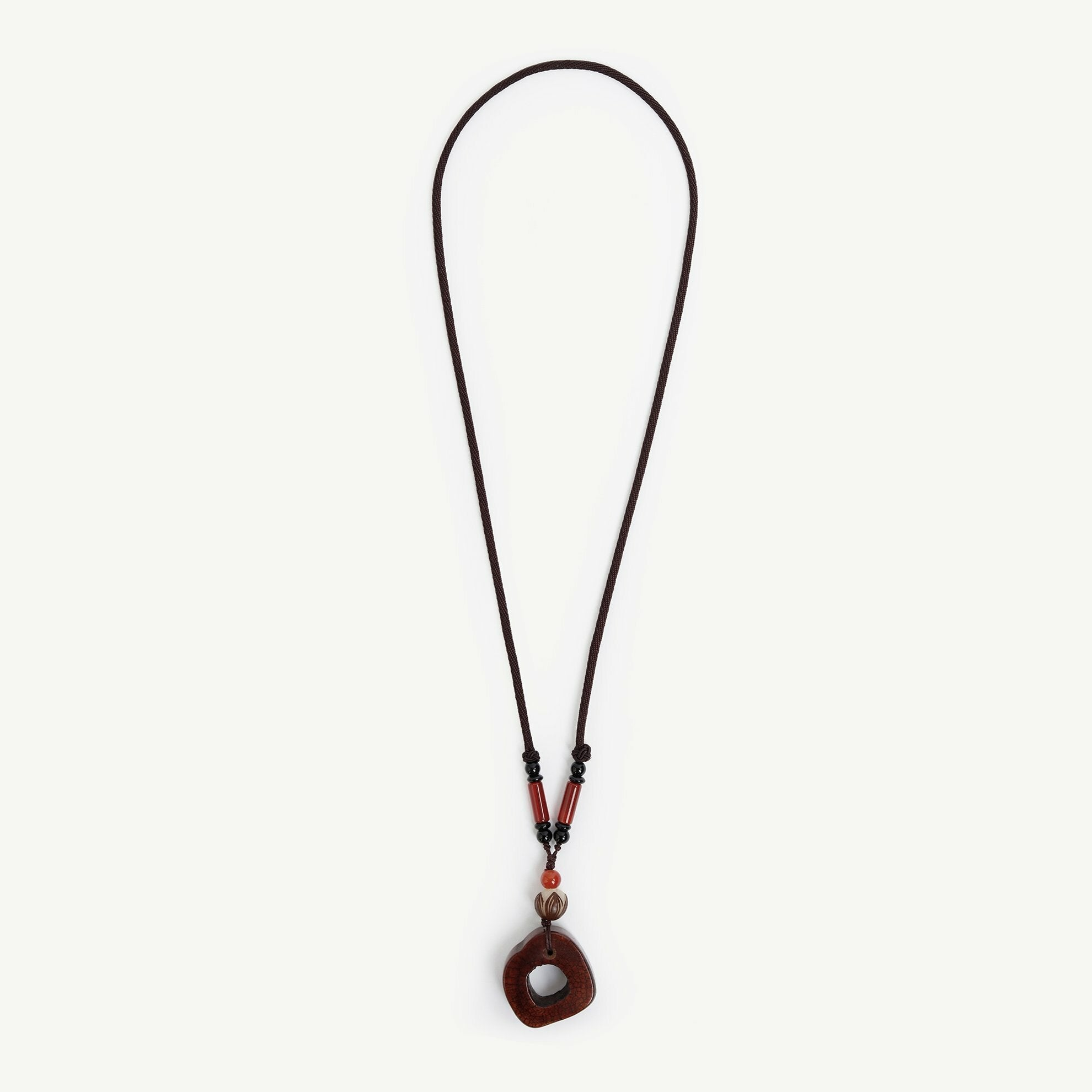 Long Chain Brown Stone Necklace