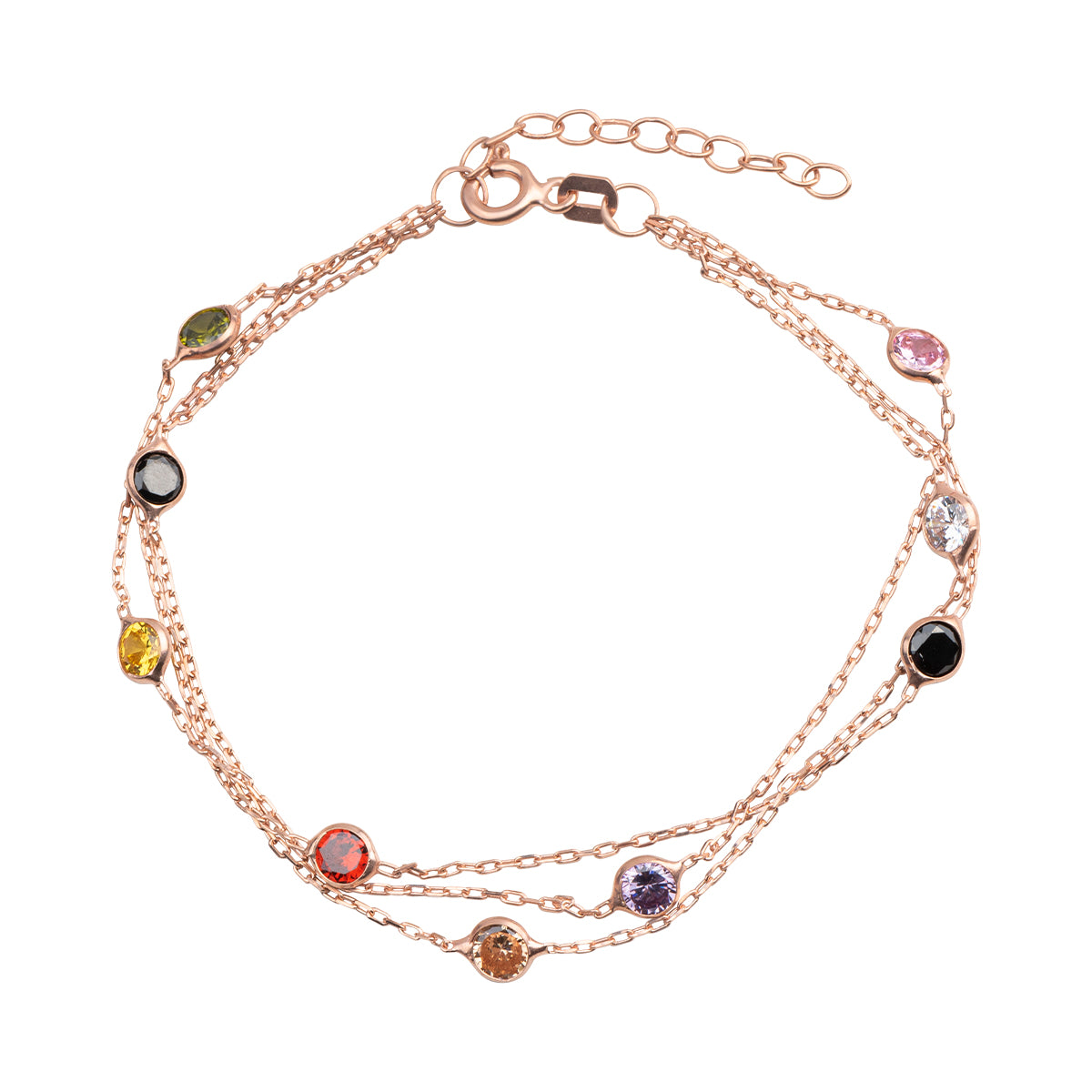 925 Sterling silver, rose gold plated layered chain bracelet with colorful beads.
