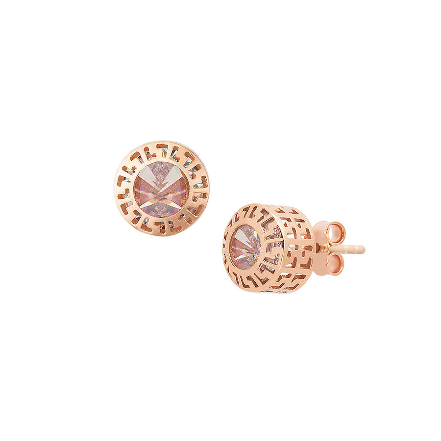 925 sterling silver, rose gold plated Greek design earrings with white zirconia stone.