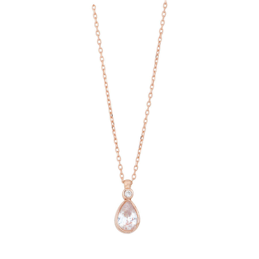 Rose gold plated sterling silver necklace with pear shape pendant.