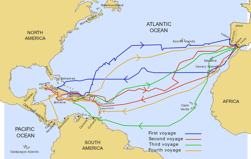 map of christopher columbus voyages, colour coded routes