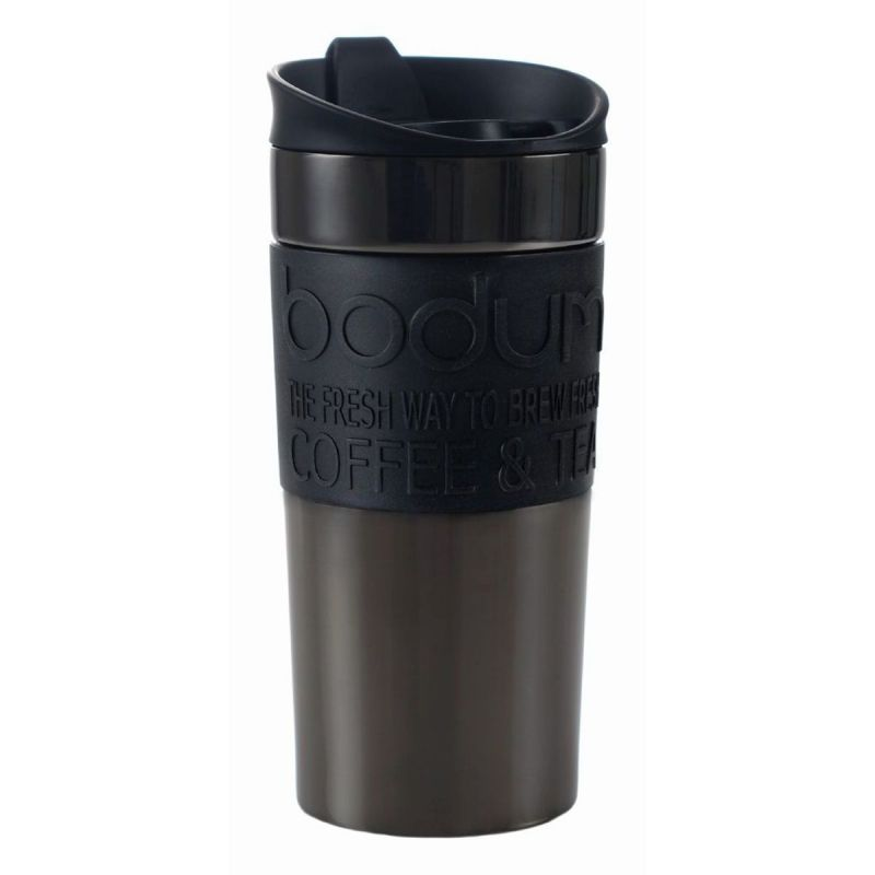 BODUM STAINLESS STEEL TRAVEL MUG, 12 OZ - GUN METAL
