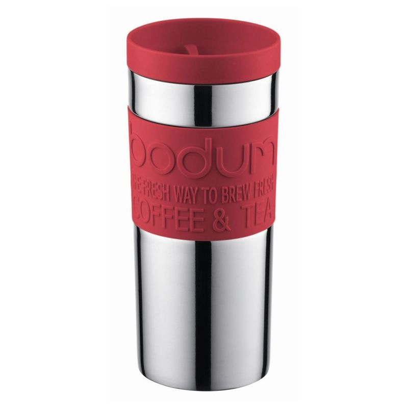 BODUM STAINLESS STEEL VACUUM TRAVEL MUG, 12 OZ - RED