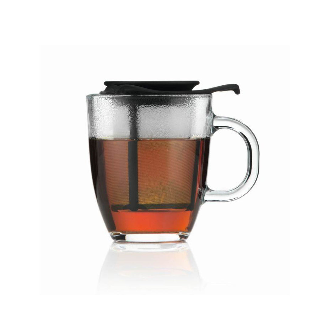BODUM YO-YO SET MUG AND TEA STRAINER - Black 12oz