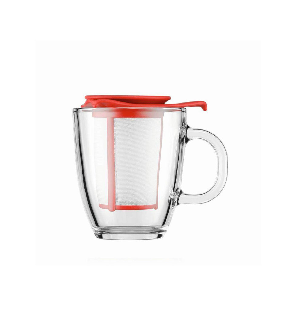 BODUM YO-YO SET MUG AND TEA STRAINER - Red 12oz