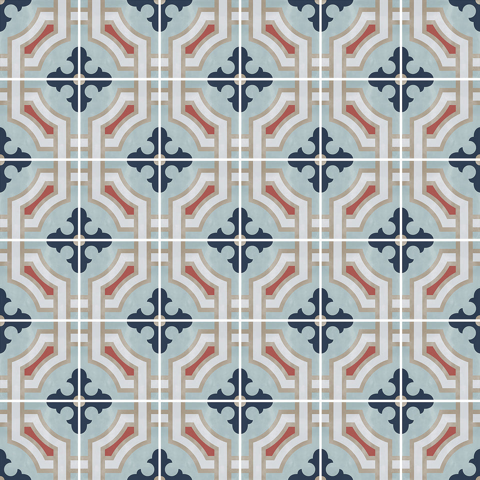 Blue Encaustic Tile Wallpaper