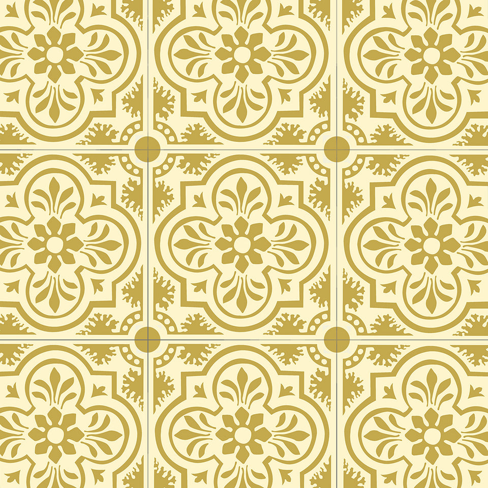 Yellow Encaustic Tile Wallpaper