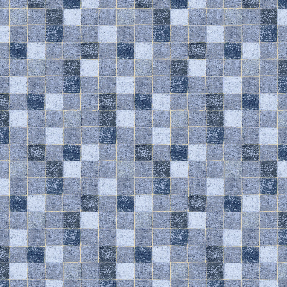Textured Blue Mosaic Tile Wallpaper