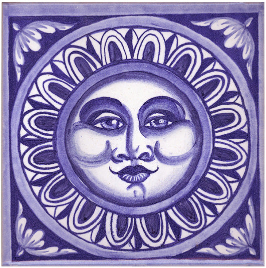 Blue Moon Face Tile Wallpaper