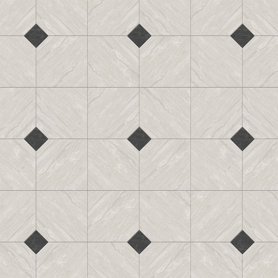 White Travertine with Dark Grey Marble Accent Tile Wallpaper
