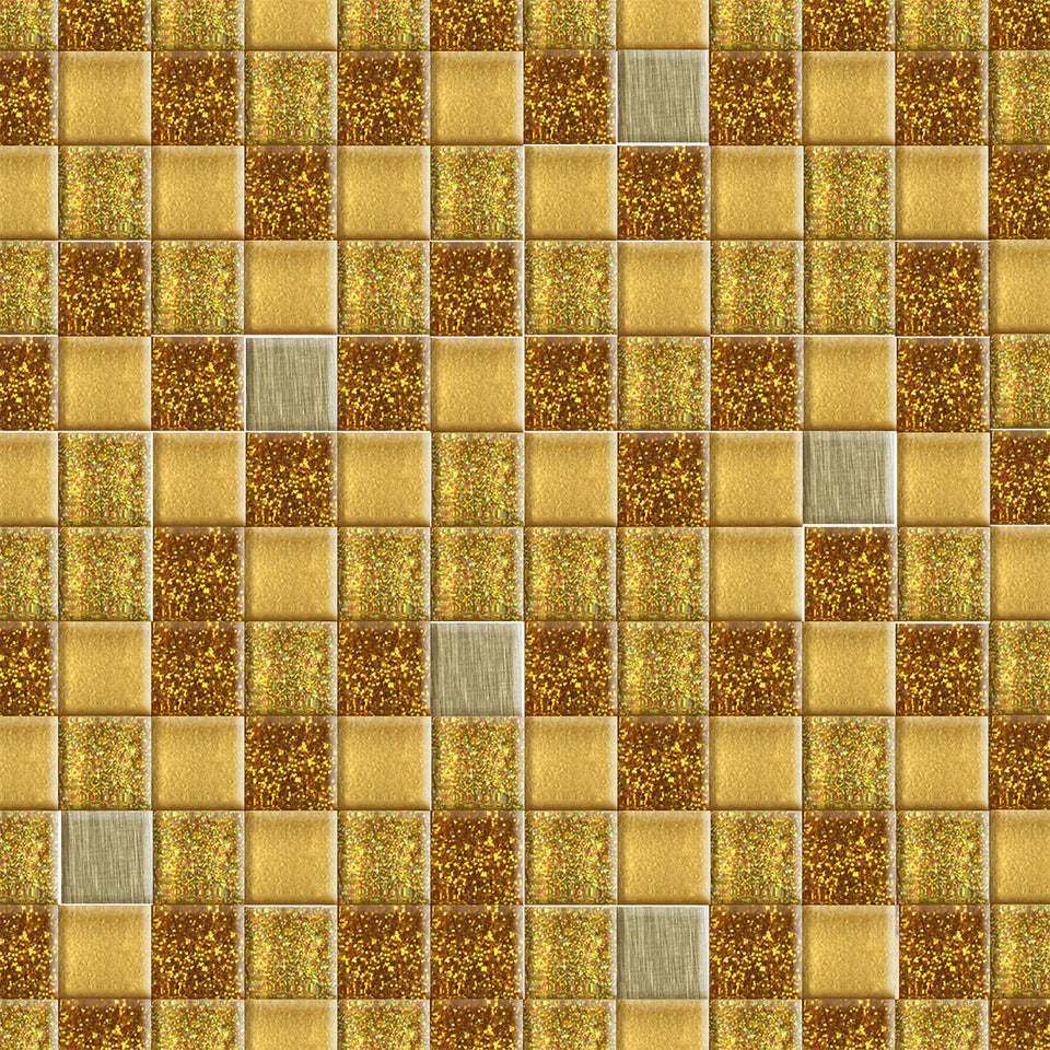 Gold Sparkle Square Tile Wallpaper