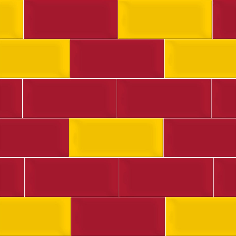 Red and Yellow Brick Tile Wallpaper