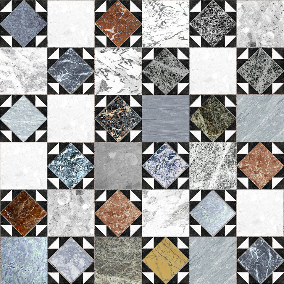 Mixed Marble Patterned Tile Wallpaper