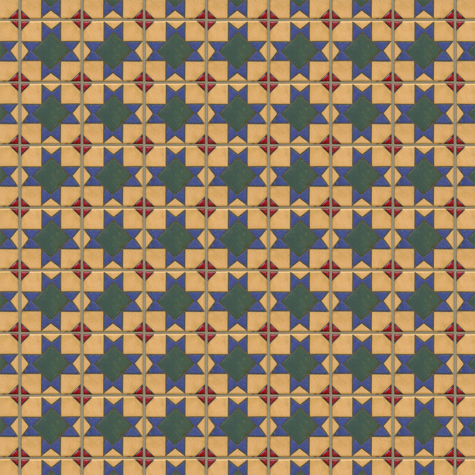 Yellow Blue Spanish Tile Wallpaper