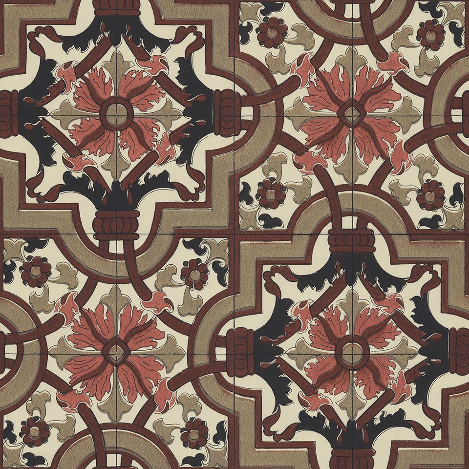 Vintage Screenprint Pattern Tile Wallpaper