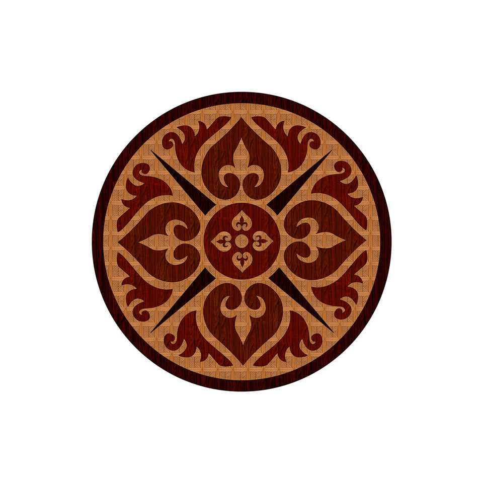 Cross Medallion - Wood Inlay Wallpaper