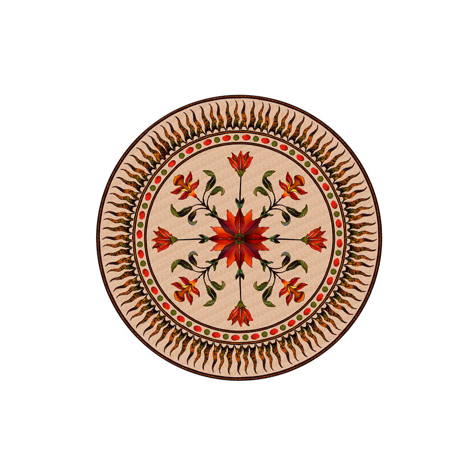 Flower Plaque Medallion Wallpaper