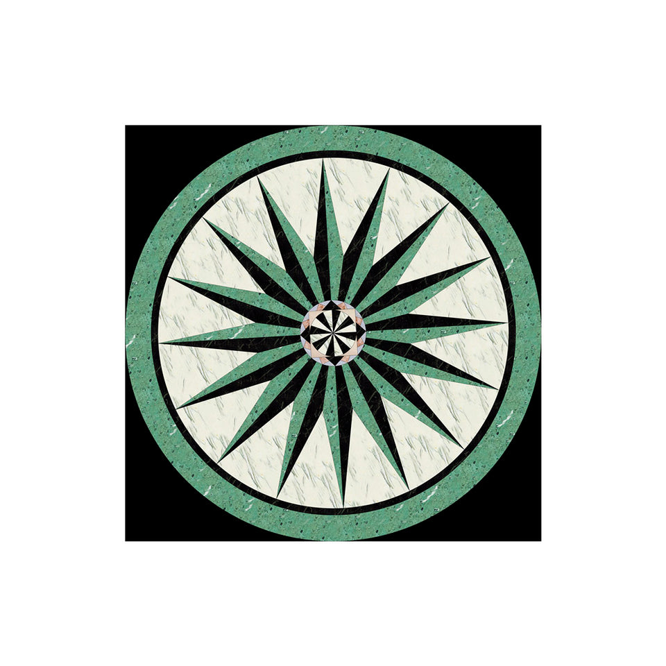 Green Marble Star Medallion Wallpaper