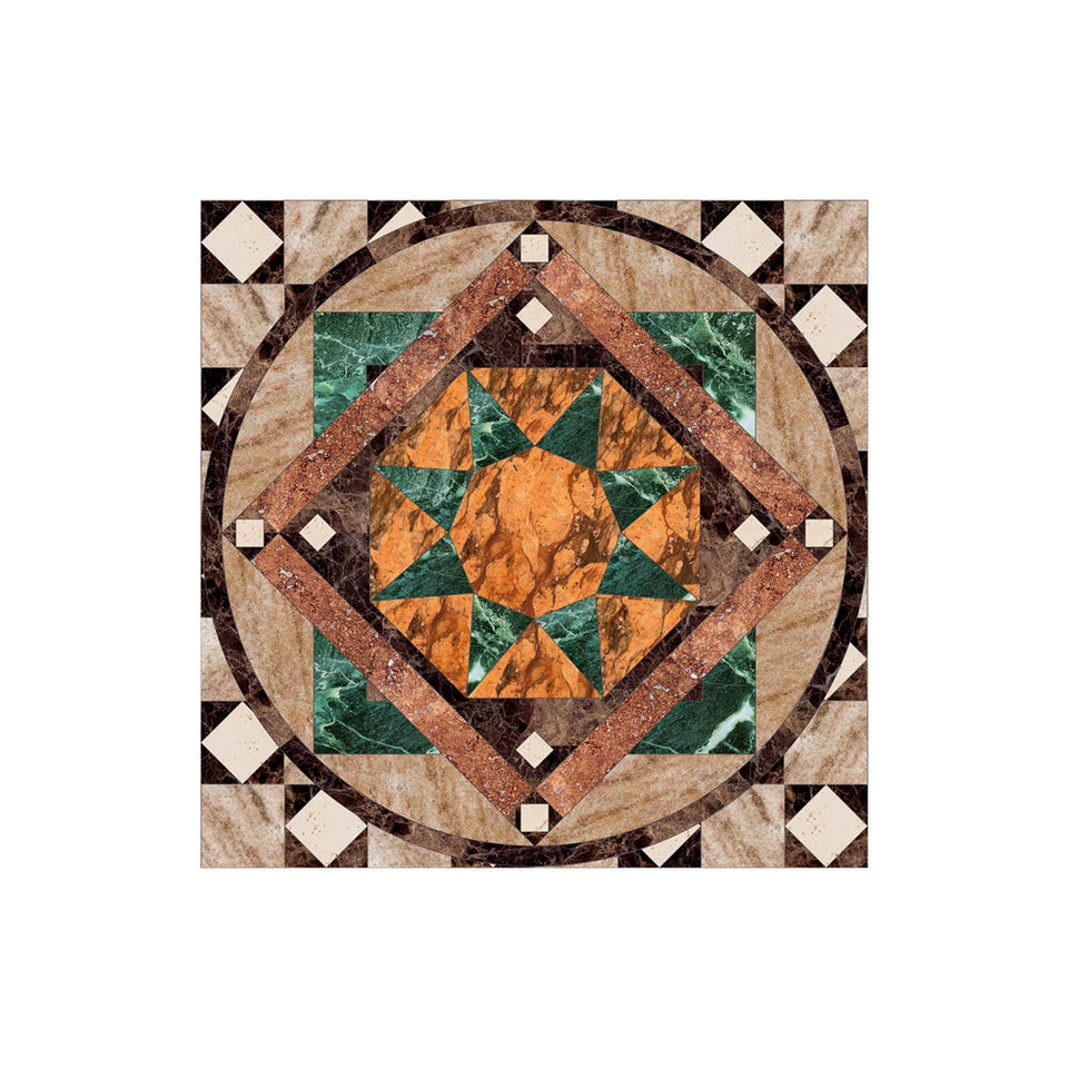 Marble Geometric Inlay Medallion Wallpaper