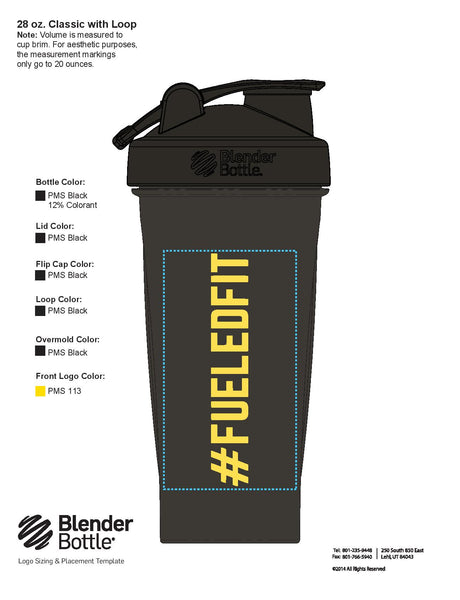 #FueledFit Blender Bottle - 28oz Classic Shaker Bottle