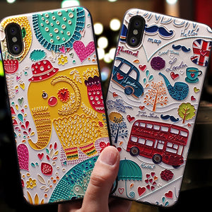 Cute 3D Emboss Cartoon Patterned iPhone Case - Jewelry King Shop