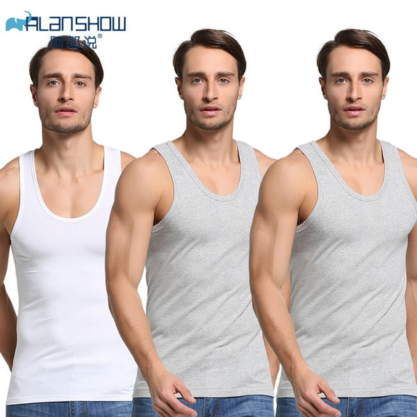 3Pcs/Lot Summer Men Cotton Underwear Mens Undershirt Transparent Shirts Male Bodyshaper Fitness Wrestling Singlets - ShopOnlineNG01