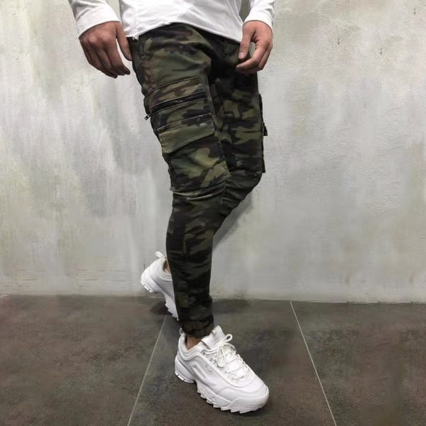2019 New Men's Pants Army Green Camouflage Slim Long Pants Patchwork Casual Jeans Men Streetwear Clothes - ShopOnlineNG01