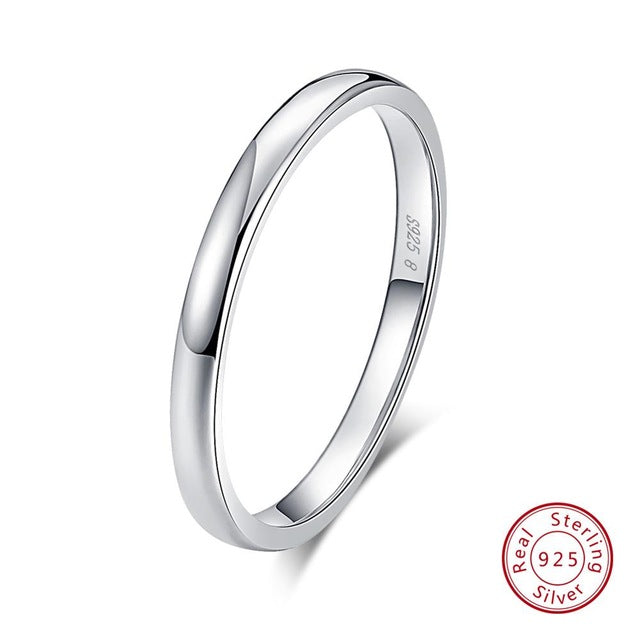 Effie Queen 925 Sterling Silver Simple Couple Ring Lovers' Geometric Wedding Engagement Rings Fine Jewelry Engrave Words TSRC1 - ShopOnlineNG01
