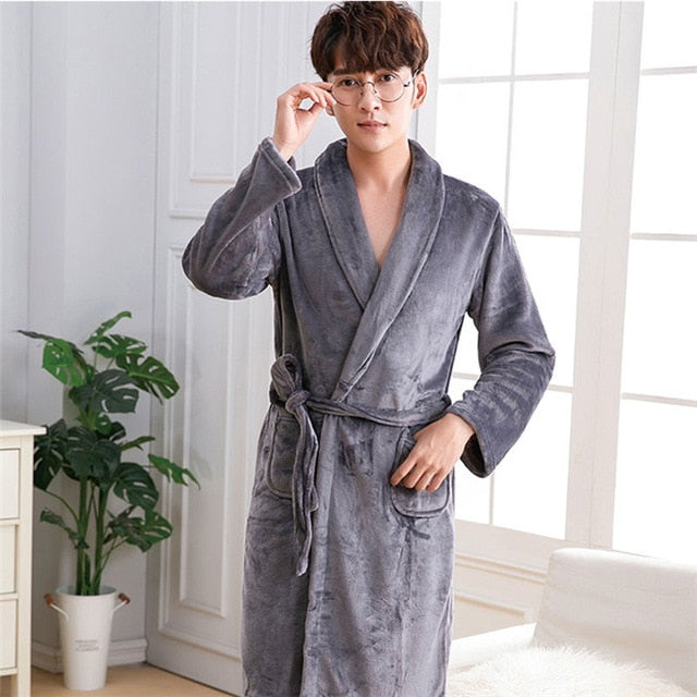 Men Casual Kimono Bathrobe Autumn Winter Flannel Long Robe Thick Warm Sleepwear Plus Size 3xl Nightgown Male Casual Home Wear - ShopOnlineNG01