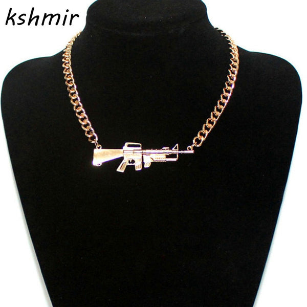 Accessories fashion star metal heavy rihanna pistol scatter-gun Man necklace - ShopOnlineNG01