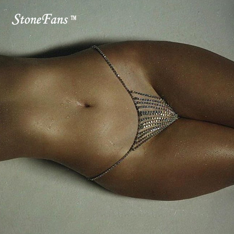 StoneFans Newest Body Chain Jewelry Simple Waist Round Bikini Rhinestone Underwear Belly Chain - ShopOnlineNG01