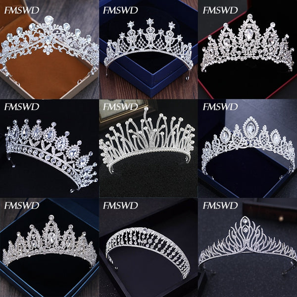 Diverse Silver Crystal Crowns Bride tiara Fashion Queen For Wedding Crown Headpiece - ShopOnlineNG01